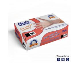 Luva vinil com pó com 100 unidades Medix